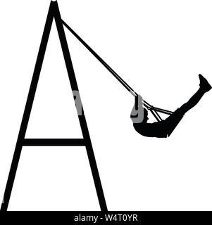 Boy swinging on swing  vector silhouette illustration - Stock Photo
