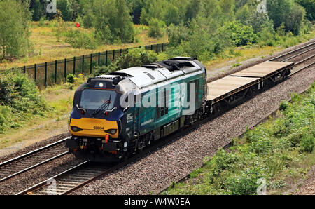 DRS Diesel locomotive 68034 at North Staffordshire junction with a very short freight train travelling from Bescot to Toton in Nottinghamshire. - Stock Photo