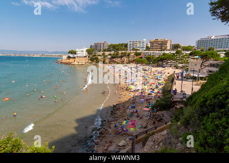 Capellans crowded beach in Salou, Spain - Stock Photo