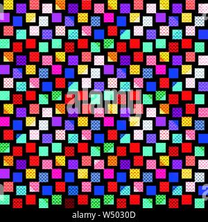 bright colored polygons on a black background seamless pattern - Stock Photo