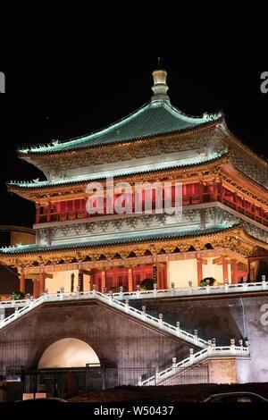 Xi'an historic architecture illuminated at night beautiful famous light show - Stock Photo