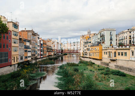 Old town at the river in Girona - Stock Photo