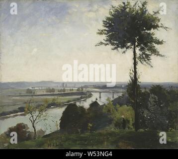 Carl Fredrik Hill, The Tree and the River III (The Seine at Bois-le-Roi), The Tree and the River Crow III (Bois-le-Roi), painting, landscape art, 1877, Oil on canvas, Height, 50 cm (19.6 inches), Width, 60 cm (23.6 inches), Signed, HiLL - Stock Photo
