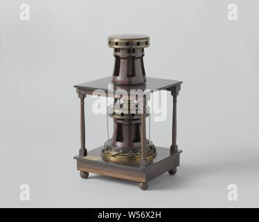 Model of a Double Capstan, Model of a double capstan in a wooden frame that represents two decks. Both capstans are for twelve wind trees and have six molars. The lower drum has eight catches in the foot to prevent it from running back. The drums can be used in four ways: blocked, separate, coupled, and combined so that the upper drives the lower with delay. The combinations are obtained with catches in the base of the lower drum, with which the gear consisting of sun and planetary wheels, placed under the lower deck between the beams, can be put into operation, and by coupling - Stock Photo