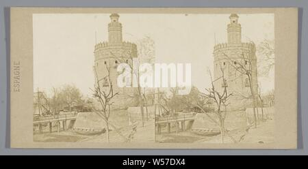 View of the Torre del Oro in Seville, La Torre Del Oro, and Seville. (title on object), towers, fortified city, Torre del Oro, anonymous, Sevilla, c. 1850 - c. 1880, cardboard, photographic paper, albumen print, h 85 mm × w 170 mm - Stock Photo