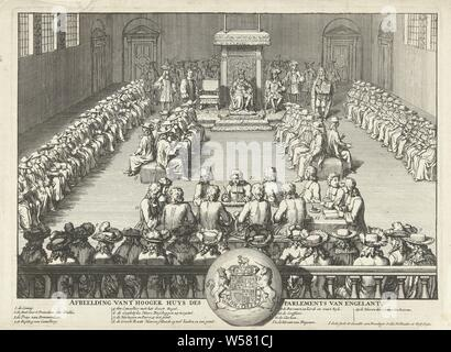 Session of the English House of Lords, 1689 Picture of t Hooger huys des parliament of Engelant (title on object), A session of the House of Lords is attended by a king. Central the king on his throne, surrounded by the Lords, sitting on cushions. In the front the clerks around a table. In the caption the legend 1-13 and the British royal weapon. The performance is based on a performance in which King William III attends the meeting, 1689., Upper House, Senate, Houses of Parliament (London), William III (Prince of Orange and King of England, Scotland and Ireland), Jacob Gole (mentioned - Stock Photo