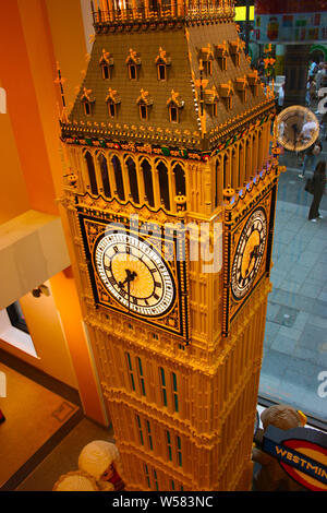 model of the clock tower in london, the big well-made scale with colorful toy bricks for children to play - Stock Photo