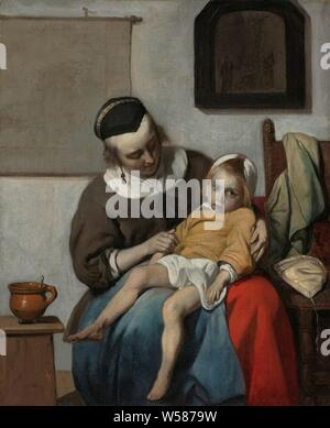 The Sick Child The Sick Child The sick child, The sick child. A mother is sitting with a child in her lap. On the left side of a table is a pot with a spoon, on the right are clothes and a hat on a chair. On the wall hang a map in rolls and a painting with a crucifixion, patient, sick person, mother and son (s) (family group), picture, painting, crucified Christ, with particular persons under the cross, Gabriel Metsu (mentioned on object), c. 1664 - c. 1666, canvas, oil paint (paint), h 32.2 cm × w 27.2 cm h 50.5 cm × w 56 cm × t 7 cm - Stock Photo