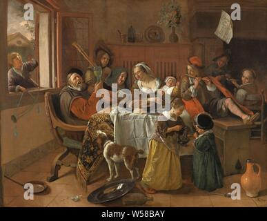 The Merry Family The Merry Family The Merry Family, The Merry Family or 'Soo the Old Songs, Blow the Boy'. Interior with a family around a table that entertains with music, singing and drinks. On the left in the window a boy with a pipe and a horn, at the table a singing old man with a raised roemer, a man playing on a bagpipe, two women singing a piece of paper, a child with a spoon, a boy with a flute and a boy and a girl smoking a pipe. At the table, a child receives a sip of wine from a jug. On the floor a dog, jugs, a plate and a saucepan, young versus old age, young and old, family life - Stock Photo