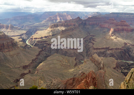 Colorado river crossing the eroded landscape of Grand Canyon, Arizona, United States - Stock Photo