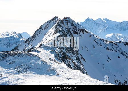 High rocky mountain landscape. Beautiful scenic view of mount. Alps ski resort. Austria, Stubai, Stubaier Gletscher - Stock Photo