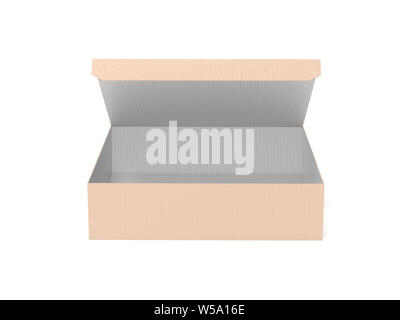 Flat brown paper box. Open carton, front view. 3d rendering illustration isolated on white background - Stock Photo