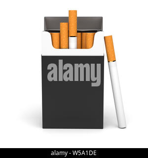 Black open pack of cigarettes. 3d rendering illustration isolated on white background - Stock Photo