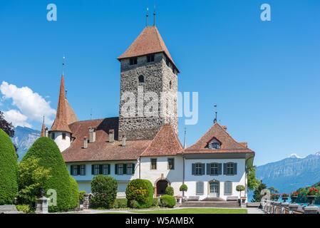 Spiez Castle, Spiez, Bernese Oberland, Switzerland, Europe - Stock Photo