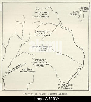 Map from the Second Boer War, position of forces around Ermelo, Mpumalanga 1901 - Stock Photo