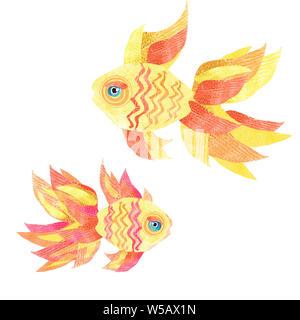 Goldfish on a white background. Isolated illustration of author's technique. - Stock Photo
