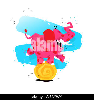 Illustration of a cartoon pink elephant on a ball. Vector illustration. Image is isolated on white background. Illustration for a banner, congratulati - Stock Photo