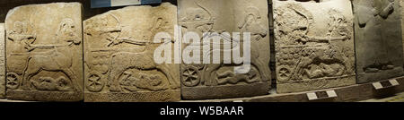 ANKARA, TURKEY - MAY 21, 2014 -  Hittite warriors, Orthostat steles from Kargama about 800 BCE,  Ankara, Turkey - Stock Photo