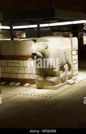 ANKARA, TURKEY - MAY 21, 2014 -  Lion door guardian from Aslantepe,Malatya,1200 BCE,  Museum of Anatolian Civilization, Ankara, Turkey - Stock Photo
