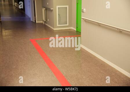 Hospital — unusually empty corridor of a French emergency department - Stock Photo