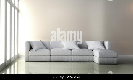white Leather Chair - Room interior on white wall background. 3D rendering - Stock Photo