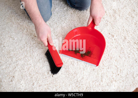 Cleaning carpet with small broom and red dustpan - Stock Photo