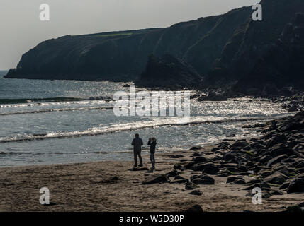 Caerfai Bay near St Davids in Pembrokeshire - Stock Photo