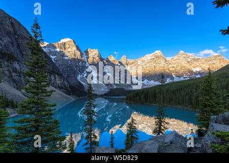 Moraine Lake at Sunrise in Banff National Park, Canada. - Stock Photo