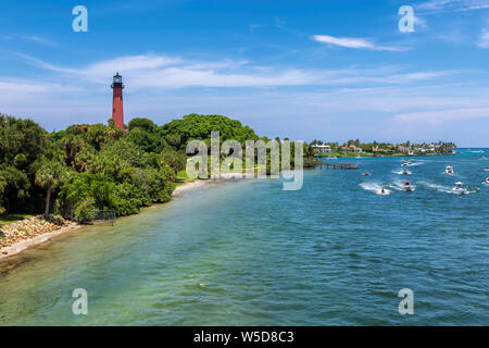Beautiful view of the Jupiter lighthouse in Palm Beach County, Florida. - Stock Photo
