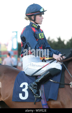 Jockey Poppy Bridgewater at Brighton Racecourse - Stock Photo