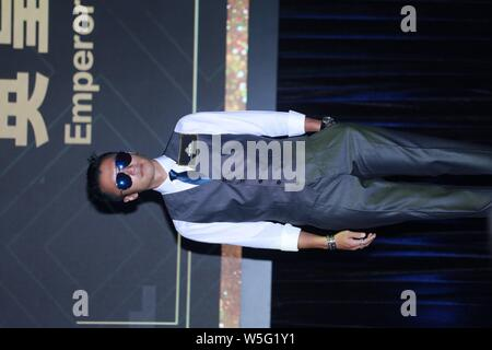 Hong Kong singer and actor Nicholas Tse attends a press conference for the Emperor Motion Pictures in Hong Kong, China, 19 March 2019. - Stock Photo