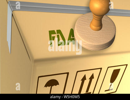 3D illustration of FDA stamp title on a carton which contains safe material - Stock Photo