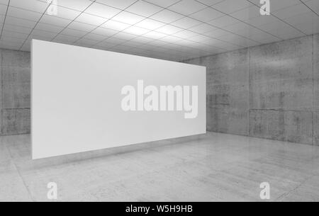 Abstract empty interior with white poster in exhibition gallery with walls made of polished concrete and shiny ceiling. Contemporary architecture. 3d - Stock Photo