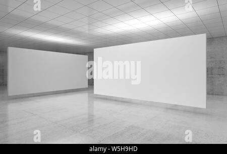 Abstract empty minimalist interior, white stands installation is in exhibition gallery room with walls made of polished concrete and shiny ceiling. 3d - Stock Photo