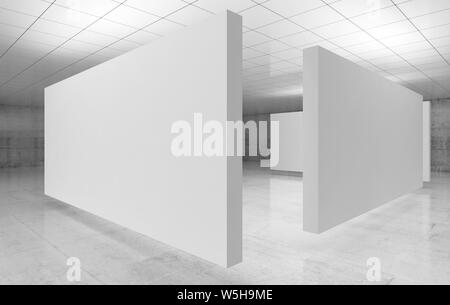 Abstract empty minimalist interior, white stands installation are in exhibition gallery with walls made of polished concrete and shiny ceiling. Contem - Stock Photo