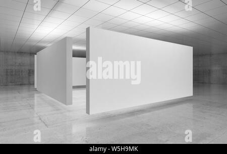 Abstract empty minimalist interior design, white stands installation is in exhibition gallery with walls made of polished concrete and shiny ceiling. - Stock Photo