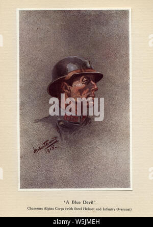 World Ward One, French soldier, A Blue Devil, Chasseurs Alpins Corps (with steel helmet and infantry overcoat), 1915. Mr Poilu, by Herbert Ward - Stock Photo