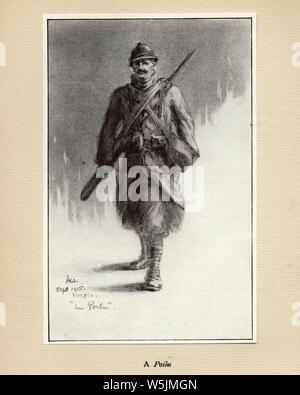 World Ward One, French soldier, a Poilu, 1915. Mr Poilu, by Herbert Ward. Poilu is an informal term for a French World War I infantryman, meaning, literally, hairy one. - Stock Photo