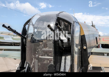 Canadian Warplane Heritage Museum Avro Lancaster FM213, known as the Mynarski Lancaster. Rear turret with guns. - Stock Photo