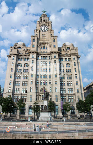 The Liver Building at Pier head in Liverpool, UK - Stock Photo
