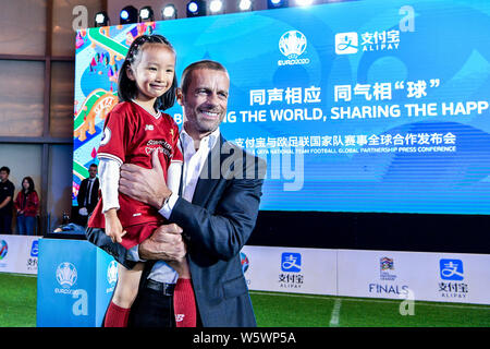Aleksander Ceferin, right, President of UEFA (Union of European Football Associations), attends the Alipay & UEFA National Team Football Global Partne - Stock Photo