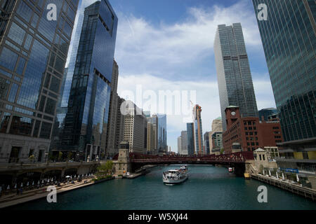 looking along the chicago river towards the clark street bridge and wolf point downtown Chicago IL USA - Stock Photo
