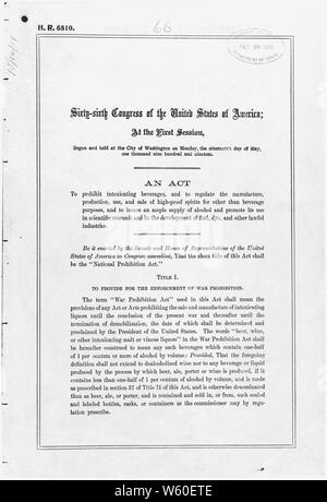 Act of October 28, 1919 [Volstead Act]; Scope and content:  The Volstead Act implemented and provided an enforcement apparatus for the Eighteenth Amendment, which forbade the manufacture, transportation, and sale of intoxicating beverages. Circumvention of the law led to bootlegging and the rise of organized crime. General notes:  The text of all federal laws is published in the U.S. Statutes at Large, a multivolume publication at libraries nationwide. The Volstead Act is found in volume 41 of Statutes at Large, pp. 305-323 (41 Stat. 305). Exhibit History: The Written Word Endures, April 1976 - Stock Photo
