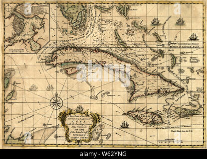 American Revolutionary War Era Maps 1750-1786 161 A new chart of the seas surrounding the island of Cuba with the soundings currents ships courses &c and a Rebuild and Repair - Stock Photo