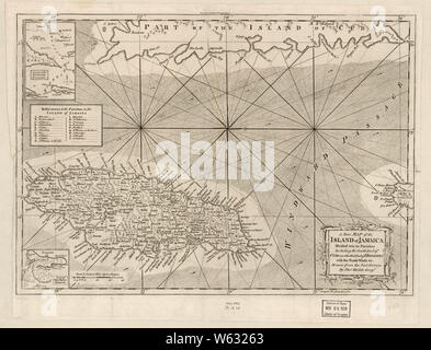 American Revolutionary War Era Maps 1750-1786 175 A new map of the island of Jamaica divided into its parishes including the south end of Cuba and the west Rebuild and Repair - Stock Photo