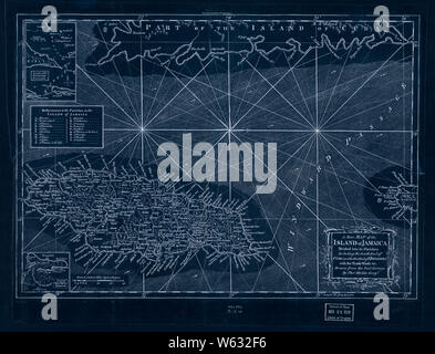 American Revolutionary War Era Maps 1750-1786 177 A new map of the island of Jamaica divided into its parishes  including the south end of Cuba and the west Inverted Rebuild and Repair - Stock Photo