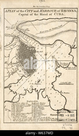 American Revolutionary War Era Maps 1750-1786 221 A plan of the city and harbour of Havanna capital of the island of Cuba Rebuild and Repair - Stock Photo