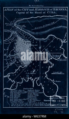 American Revolutionary War Era Maps 1750-1786 223 A plan of the city and harbour of Havanna capital of the island of Cuba Inverted Rebuild and Repair - Stock Photo
