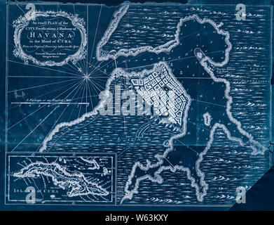 American Revolutionary War Era Maps 1750-1786 319 An exact plan of the city fortifications & harbour of Havana in the island of Cuba Inverted Rebuild and Repair - Stock Photo