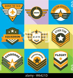 Airborne logo set. Flat set of 9 airborne vector logo for web design isolated on white background - Stock Photo